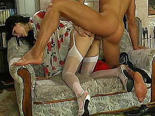 Sweltering dark brown in white plain-top stockings getting dildoed and poked