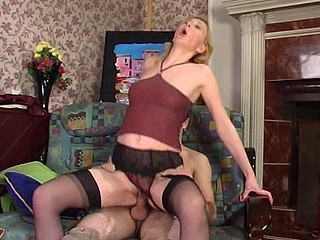 Freaky sweetheart in dark nylons is about to thank her ally for rubber present