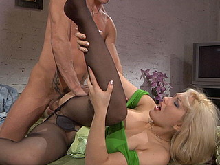 Lusty blondie and her ally play hose games previous to doggystyle fucking