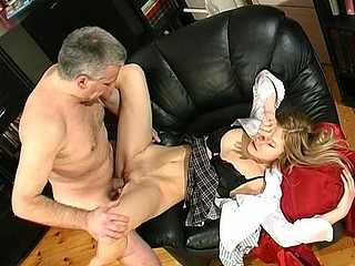 Beautiful coed having a intimate fucking lesson with a horny graying professor