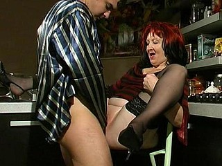 Lewd aged gal and her younger lover having sucking and fucking amusement