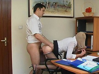 Freaky co-workers having wild office sex with lacy hose on their heads
