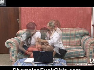Lewd gal and her t-girl co-worker discuss some project previous to hard banging