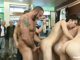 These skinny boys are fucking sluts. They are good merely at fucking and their sexy asses are perfect for a big hard cock. The big gay bear has a rock solid dick and that guy fucks one of them from behind unfathomable..