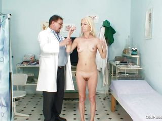 this doctor is not a good person as he teases different parts of her aged body to satisfy his fetish of playing with the body of aged women. he is also hoping that it is going to turn on the granny enough to have her..