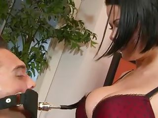 The fellow waits there blindfolded as this sexy brunette with sexy natural tits, sexy legs and pretty face taunts him in advance of giving him her pussy. See her sexy body as she curls while the fellow is licking her cum..