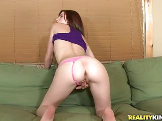 Pretty bitch Annie enjoys the hardness of a big white cock. She shows us her hawt body and the way she knows how to rub her pink shaved pussy underneath those hawt panties before stuffing her mouth with the guy's dick...