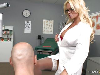 A very hot thirty five year old doctor acquires excited and wants to fuck her patient and shows him a picture of her naked. that dude acquires hard and start licking her huge tits. Look at her face as the dude licks her..