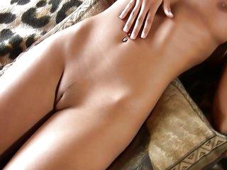 Very hot blond masturbating on bed