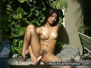 Exposed Asian gal drills her vagina part6