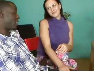 Flirty brunette whore sucking monster black cock in front of bf