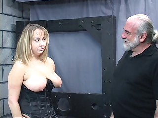 Old man dom pulls fat sub',s hair and smacks her big tit