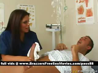 Hot dark brown nurse makes a patient a bath