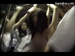 Girl In White Dress Rapped Getting Her Pussy Fingered By Many Girls On The Bus