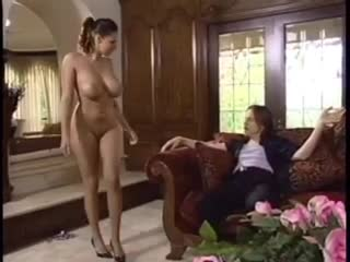 Natural playgirl dances for him and gobbles cock