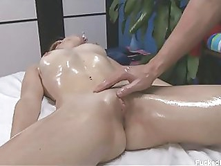 Gorgeous Blonde Honey Gets Overspread in Body Oil and Her Clit Massaged