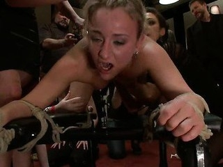 Struggling gal overpowered, suspended, bound and fucked, tormented with water.