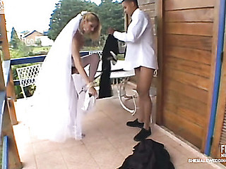 Sex-addicted shelady bride taking sheer pleasure from her unusual wedding
