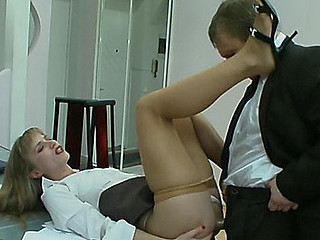 Sexy chick in sheer-to-waist hose satisfying her sex-fever in wazoo-banging
