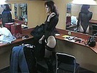 Everpresent spy camera which is situated in the make-up room this time films luscious brunette stripping her high boots and stockings and changing into tight jeans which add yummy curves to her slim body!