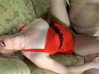 Hawt gal puts on her red gown and smooth control top hose for wild nylon sex