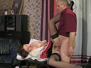 Hawt French maid massaging her bawdy cleft previous to sexy quickie with her mature boss
