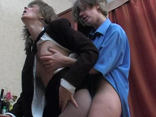 Lewd secretary engulfing pantyhosed ramrod longing to take it up her fiery twat