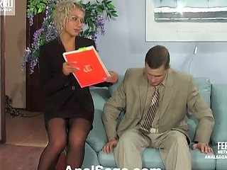 Seductive blond secretary in red underclothes readily opens her arse for a boss
