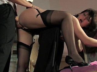 Lascivious babe in luxury nylons getting her tight soaked crack impaled unfathomable