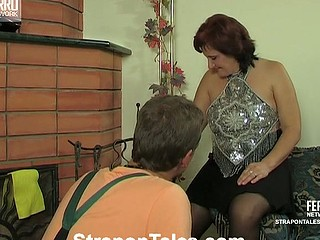 Chubby honey feeling new sensations luring a worker into strap-on fucking