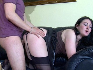 Randy sweetheart in black nylons going from wang-engulfing to doggystyle fucking