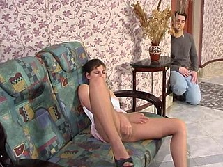 Spicy chick in control top pantyhose melting in the heat of fleshly desire